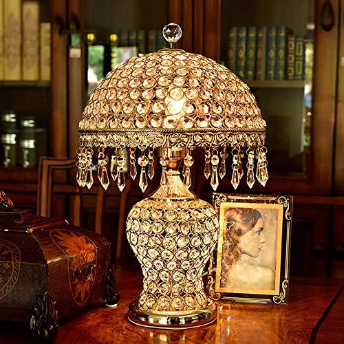 ACHNC Kristall Tischleuchte,Modern Luxus Nachttischlampe Dekoration Tischlampe E27 Nachttischlampen für Wohnzimmer Schlafzimmer Esszimmer,Gold