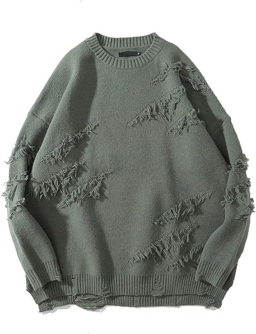 GHURFNP Men Winter Streetwea Long Sleeve Solid Pullover Oversize Couple Sweater