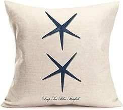Fukeen Coastal Theme Home Decorations Throw Pillow Case Marine Organism Blue Starfish Pattern Cushion Covers Cotton Linen 18x18 Pillowcase