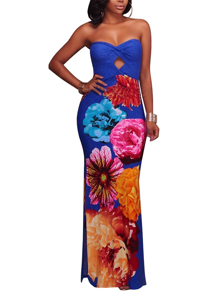Available at Amazon: LightlyKiss Women's Sexy Floral Cover-up Dresses Strapleess Bohemian Long Maxi Beach Tube Sundress