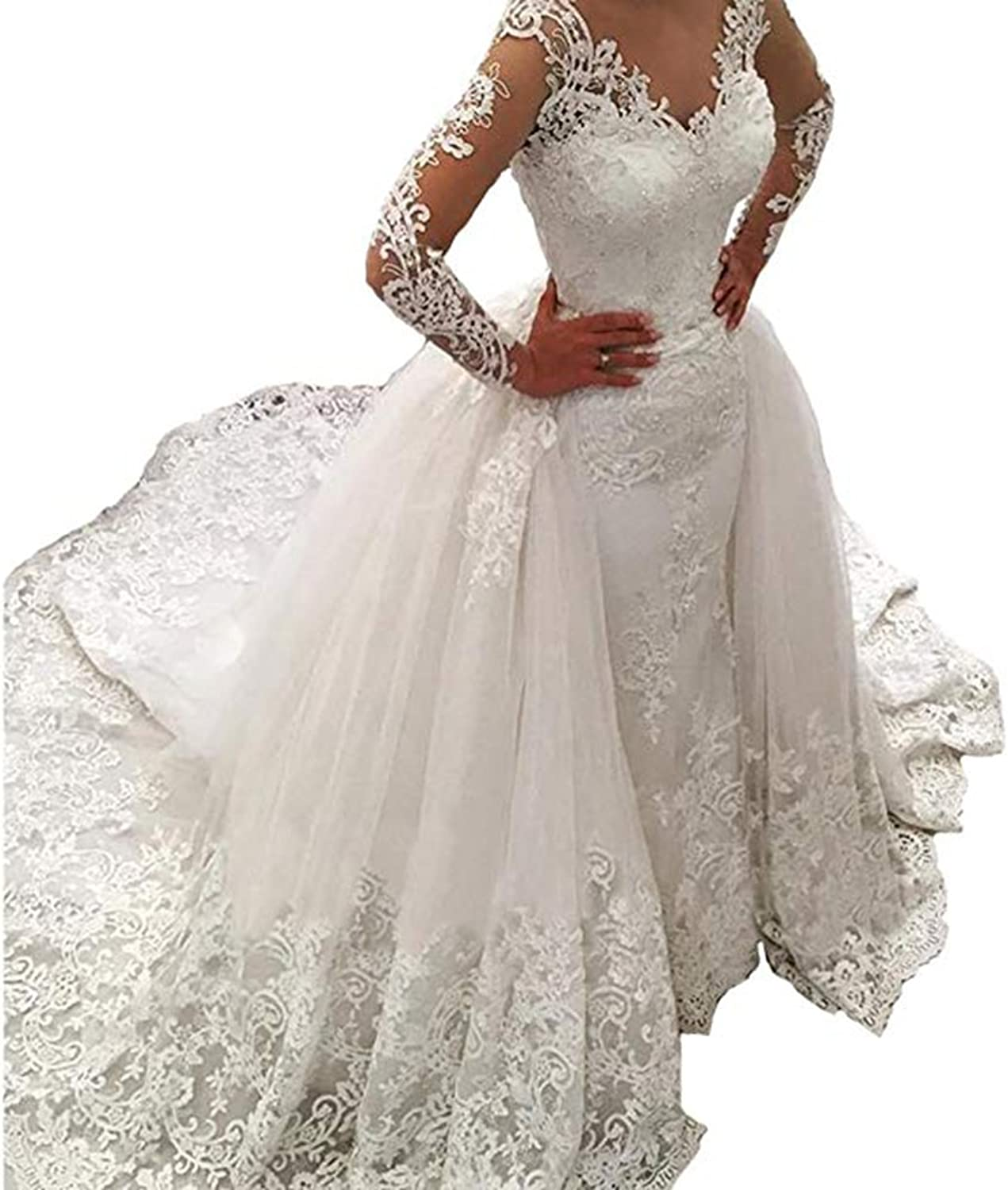 HerDress Womens Mermaid Wedding Dresses Long Sleeves for Bride 2018 Lace Beading Wedding Ball Gown with Detachable Train