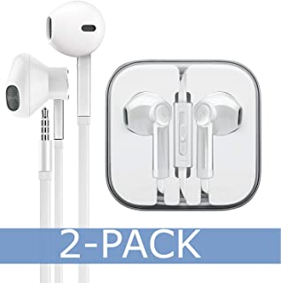 AURAL 2-Pack Premium Earphones/Earbuds/Headphones with Stereo Mic&Remote Control Compatible for iPhone iPad iPod Samsung Galaxy and More Nexus Android Smartphones - White