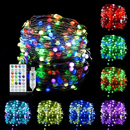 LED String Lights USB Powered Fairy Lights with 10M 100LEDs 16 Colours Changing 18 Modes Remote Control Super Bright Christmas Decorations Lights for Wedding Party Christmas Tree Decor