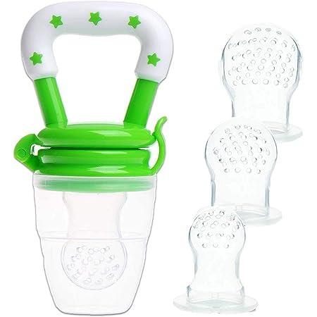 Alimentador de alimentos para bebés Chupete de frutas - Yisscen Chupete para alimentos frescos con 3 tamaños diferentes Reemplazo de pezones de silicona (S, M, L) - Juguete para niños Dentición, Verde
