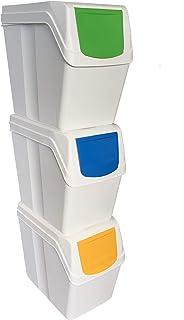 Prosperplast Lot de 3 bacs de recyclage capacité totale 60 litres, empilables, compartiments de couleur blanche, 3 x 20 li...