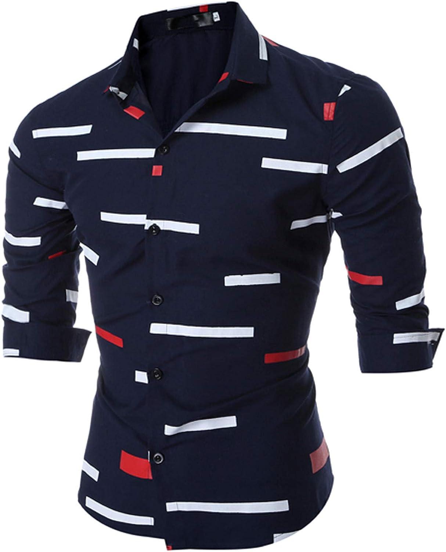 Men's Blouse Geometric Print Slim Fit Henley Casual Turn Down Collar T-Shirt