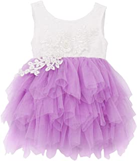 Little Girls Floral Lace A-Line Backless Tutu Tulle Flower Princess Dress Wedding Birthday Party Dance Gown