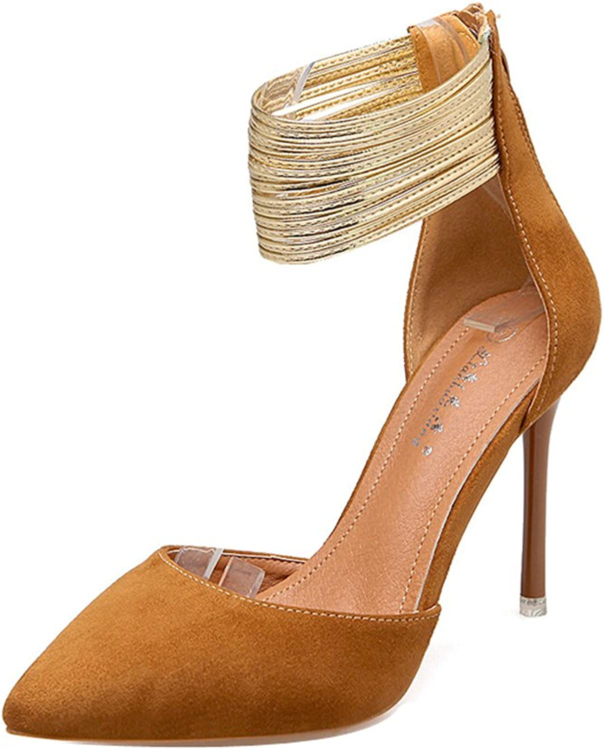 Ladola Womens Ankle-Strap Pointed-Toe Solid Suede Pumps shoes