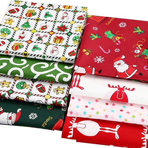 8 Stück Weihnachten Baumwoll Stoff Bündel Quadratisch Nähen Vorgeschnitten Patchwork Bedruckt Stoff Schrott für DIY Weihnachtsstrumpf Baum Kranz Puppe Kleid Schürze Decke Untersetzer (20 x 20 Zoll)
