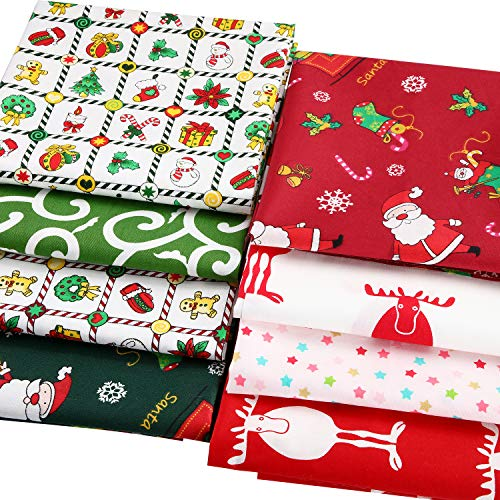 8 Pieces Christmas Cotton Fabric Bundles Square Sewing Precut Patchwork Printed Fabric Scraps for DIY Christmas Stocking Tree Wreath Doll Dress Apron Quilt Coaster (20 x 20 Inch)