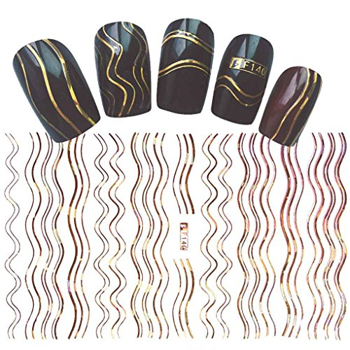 Sunlera 1 Blatt Gold Silber 3D Nail Sticker Geometrische Streifen Welle Linien Streifen Tipps Maniküre Klebstoffübertragung Aufkleber