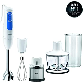 Braun MQ3038 Spice+/ Multiquick 3 Hand Blender with Chopper & Spice Grinder 700W (White & Blue)