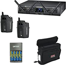 Audio-Technica ATW-1311 System 10 PRO Rack-Mount Digital Dual UniPak Transmitter System (2.4 GHz) with GM-1W Wireless Mobile Pack & 4-Hour Rapid Charger Kit