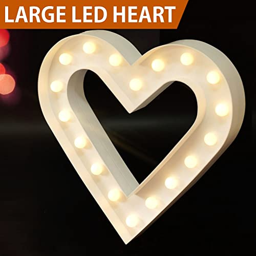 Bright Zeal 125 Large Romantic LED Heart Marquee Sign White 6hr Timer
