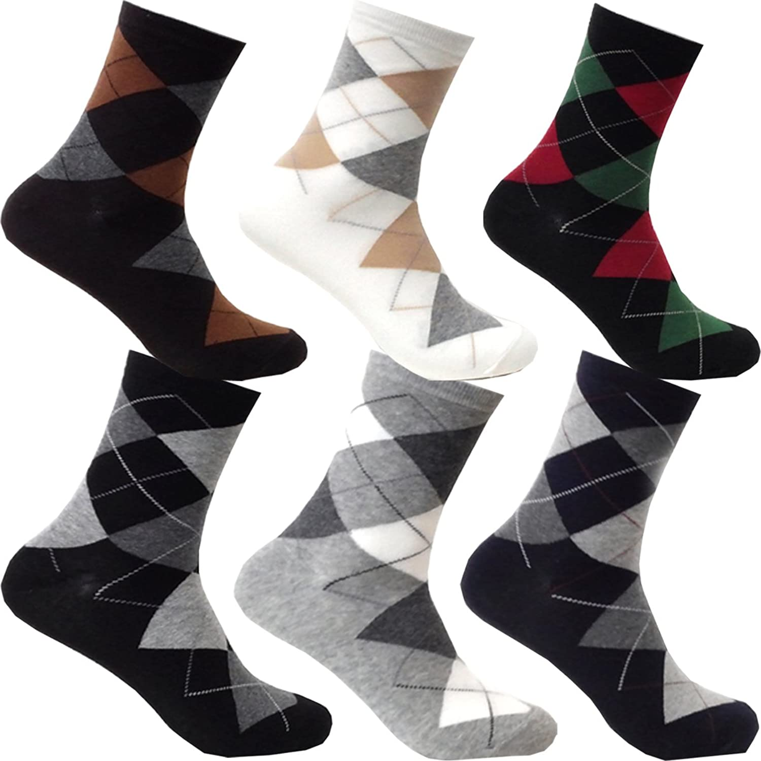 Myglory77mall 6Pairs Mens Patterned Variety Style Fashion Cotton Casual Socks (Type12)