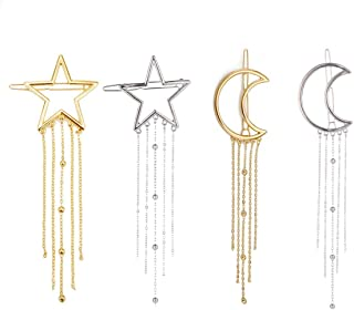 Numblartd 4 Pcs Fashion Metal Alloy Geometric Stars Moon Tassel Hair Clip Pins - Women Hollow Side Clip Hairpin Barrettes Bobby Pins Headdress Hair Accessories