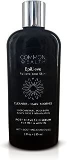 Common Wealth EpiLieve Post Shave Skin Serum 8 Ounce Liquid Solution For Ingrown Hairs, Razor Bumps, Burns, Redness, Tend To After Shave Irritation