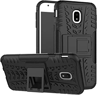 For Samsung Galaxy J3 Pro 2017 J330 Hyun Pattern Dual Layer Hybrid Armor Phone Case Kickstand 2 in 1 Shockproof Case Cover (European Version) -case (Color : Black)