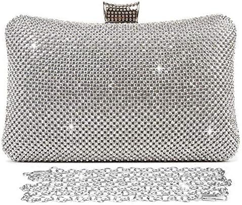 Pinprin Ladies Sparkly Crystal Diamante Evening Bag Wedding Clutch Party Bag Womens Handbag