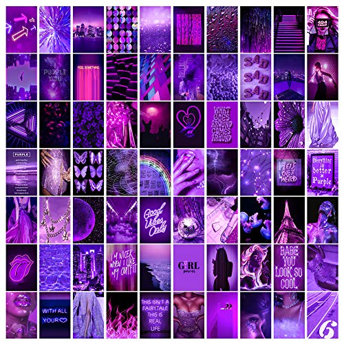 ZAIWEI Wall Collage Kit Aesthetic Pictures, Neon Collage Print Kit, Euphoria Room Decor for Girl, Wall Art Prints kit, Dorm Photo Display, Girls Bedroom Decor,4x6 inch 70PCS (Purple)