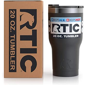 RTIC Insulated Travel Tumbler, Stainless Steel Mug, Hot Or Cold Drinks, with Splash Proof Lid, 20Oz, Black