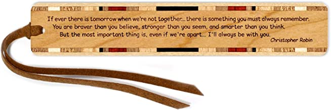 Christopher Robin Quote Engraved Wooden Bookmark on Cherry with Brown Suede Tassel - Search B071NGVC3D to see personalized version