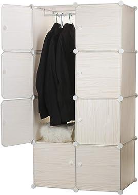 Awekris Closet Clothes Wardrobe Portable Bedroom Armoire Clothes Dresser Garment Rack Polyresin Storage Organizer with Doors