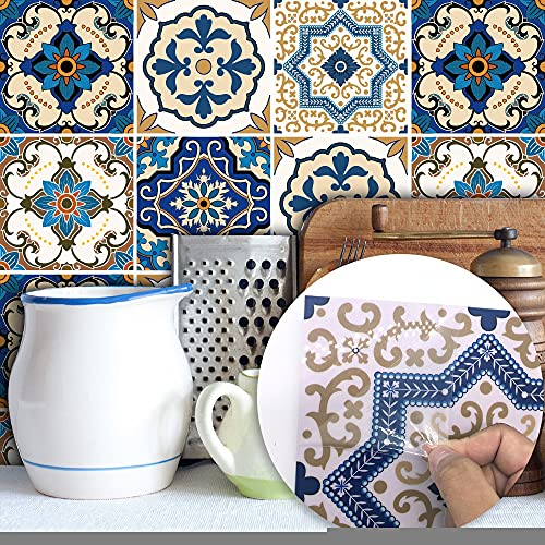 Byrhgood Negro y Oro Mármol Pegatinas de Azulejos Pegatinas de Pared Etiquetas de Pared Decorativo Extrovable Peel & Stick para la Cocina Backsplash (Color : Moroccan Tiles, Size : 15x15cmx10pcs)