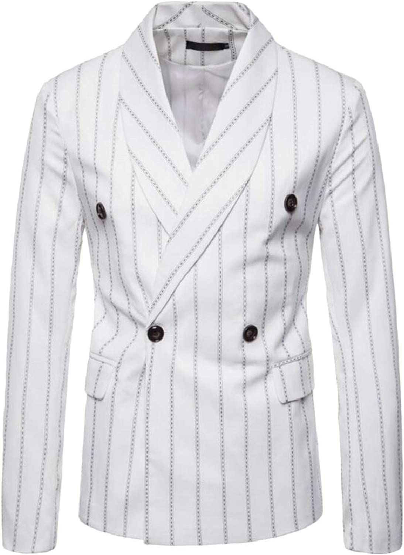 Tymhgt-CA Men's Double Breasted Stripe Business Slim Lapel Suit Blazer Jackets