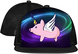 Unicorn Flying Pig Unisex Fashion Print Bouncy Mesh Caps