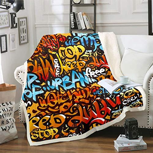 Hippie Graffiti - Manta de forro polar para niños, niñas, adolescentes, diseño de grafiti, moderna manta gráfica de pared para silla de oficina, manta de felpa para bebé, 76 x 40 pulgadas