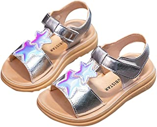 Hopscotch Boys and Girls PU Star Applique Sandals in Silver Color