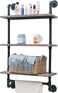Industrial Pipe Shelf,Rustic Wall Shelf with Towel Bar,24