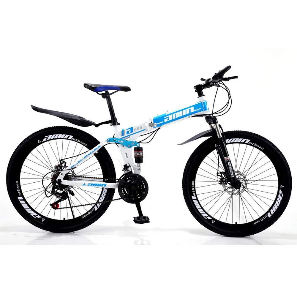 XHCP Bicicleta de montaña Plegable para Adultos, Bicicletas de 26 Pulgadas para Hombres y Mujeres, Amortiguador de Velocidad Variable, Bicicletas para Estudiantes, 21/24/27/30 Velocidad Pareja Bi: Amazon.es: Hogar