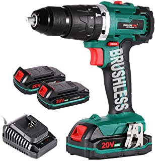 Sponsored Ad – Cordless Drill Driver,Brushless 20V Hammer Drill with 2Pcs 2.0Ah Battery Combi Drill Set,50N.m Electric Scr...
