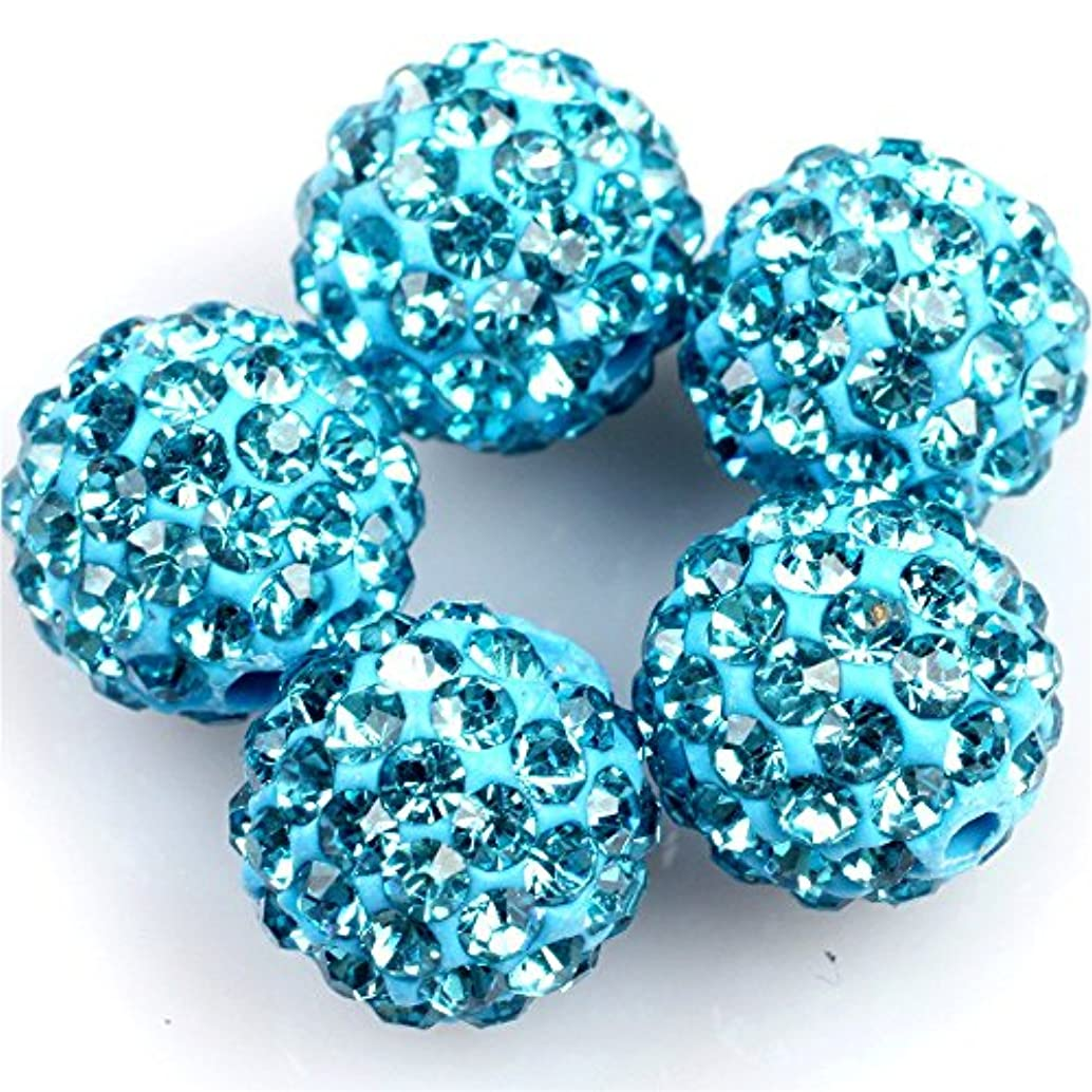 Lots Of Pave Shine Blue 10mm Beads For Jewelry Making (10 Beads Per Lots)