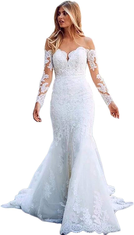 CL Bridal Women's Sheer Crew Neck Long Sleeve Lace Mermaid Brides Wedding Dress