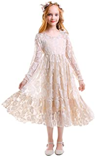IWEMEK Flower Girls Long Lace Bridesmaid Dress Long Sleeve Floor Length Maxi Tulle Pageant Ball Gown Wedding Party Formal Dress