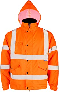 FWG High Visibility Safety Bomber Jacket for Men Women Waterproof Insulated Workwear Parka (XXX-Large, Flame)