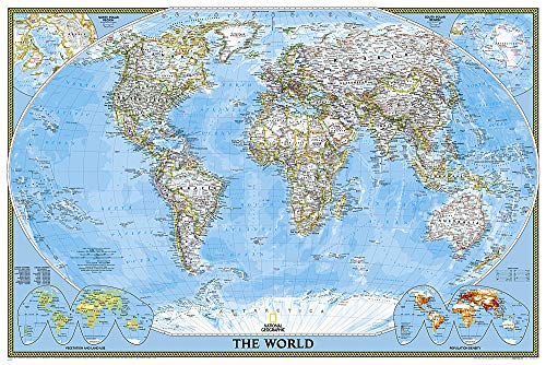 World Classic, Poster Size, Tubed: Wall Maps World (National Geographic Reference Map)