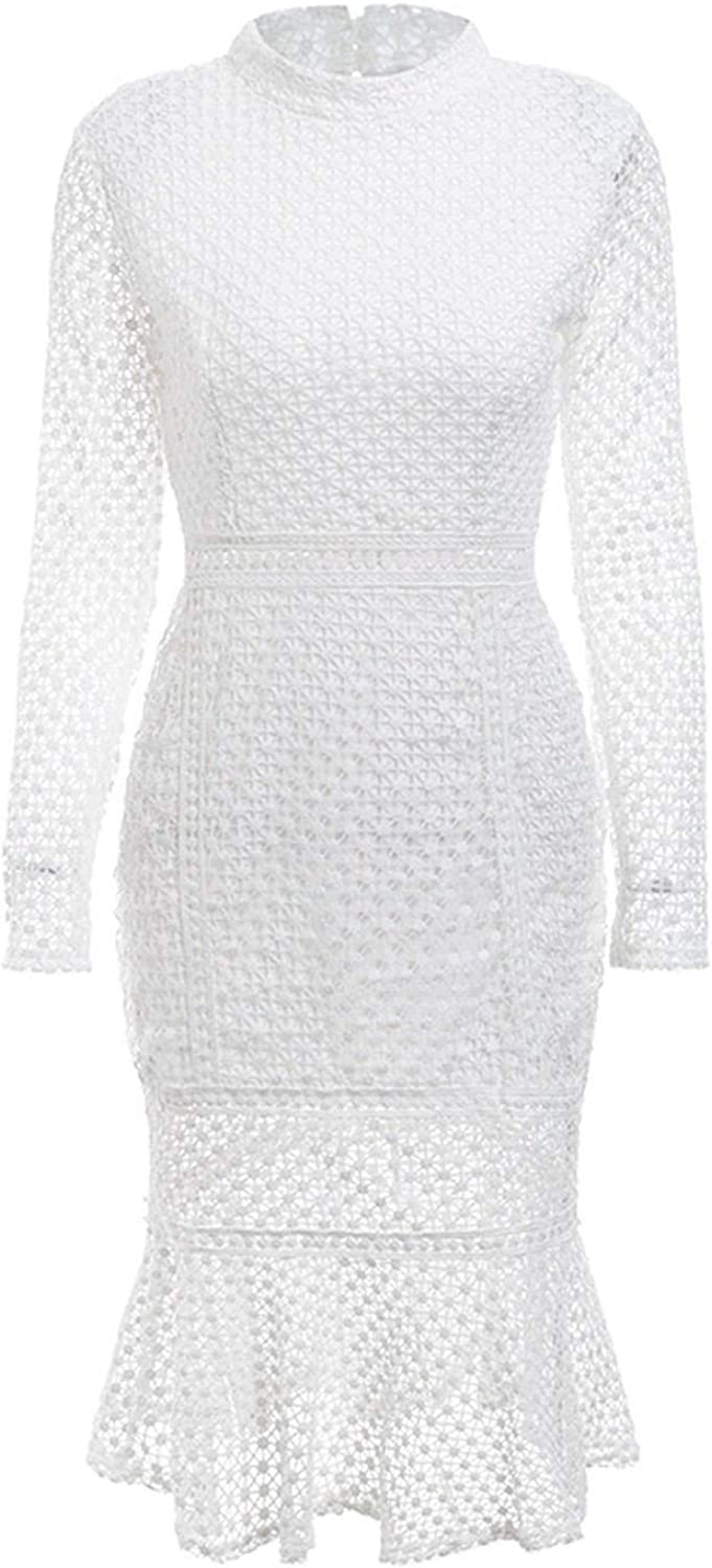 MTStyle Ruffles Long Sleeve Lace Back Hollow Out Sexy Dress Plus Size O Neck Dress