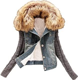 Women Fleece Denim Jacket with Fur Sherpa Jackets Jean Coat for Teen Girl Outerwear
