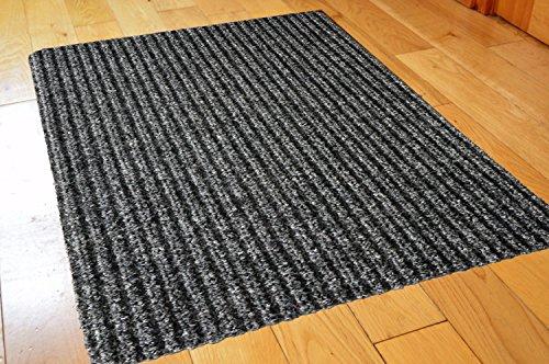 FunkyBuys Colore: Grigio Medio/Nero Antiscivolo zerbino in Gomma con Runner barriera Tappeti Tappeto Tappeto da Cucina, con Bordi in PVC (60x 80cm) Grey/Black Ribbed (40x60cm)