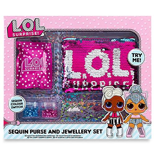 L.O.L. ¡Sorpresa! Switch - Kit de costura para hacer bisutería y bolsos de lentejuelas para niñas LOL Muñecas Confeti Pop Diva Rockera Mc Swag, color rosa. , color/modelo surtido