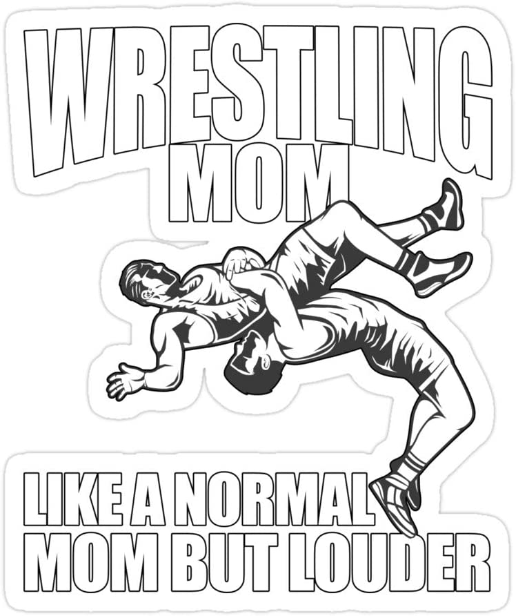 Elizabeth 3 PCs Stickers Wrestling Mom Like A Normal Mom But Louder 3x4 Inch Die-Cut Wall Decals for Laptop Window Car Bumper Helmet Water Bottle