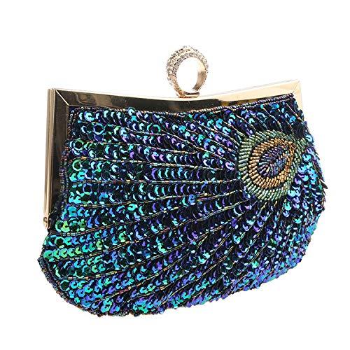 EVEOUT Para mujer de la vendimia embrague verde azulado pavo real con cuentas de lentejuelas tarde bolso turquesa ojo captura diseñador de moda elegante bolso para damas boda nupcial