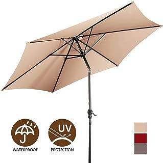 Giantex 9ft Market Patio Umbrella, Outdoor Table Umbrella w/Push Button Tilt and Crank, 180G Polyester and Sturdy Ribs, Sun Umbrellas for Market Garden Beach Pool
