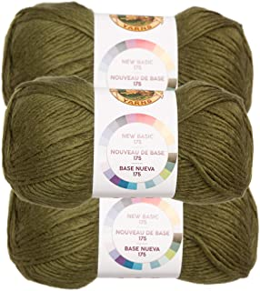 Lion Brand (3 Pack) New Basic Acrylic & Wool Soft Olive Green Yarn for Knitting Crocheting Medium #4