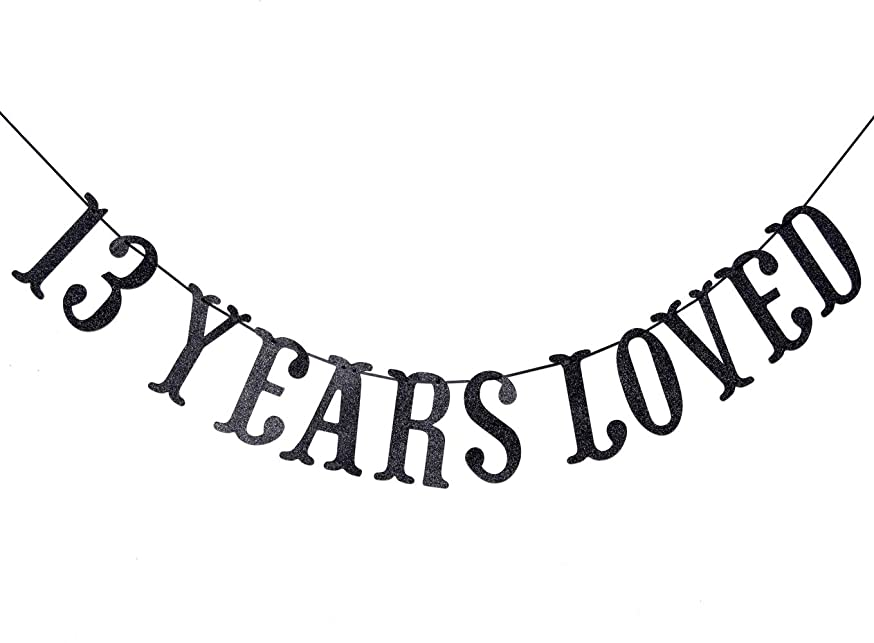 13 Years Loved Banner for 13th Birthday/Anniversary Party Decoration Sign Bunting (Black Glitter)