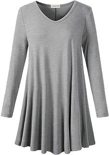 LARACE Long Sleeve Tunics Tops Plus Size for Women V Neck Loose Fit Flowy Clothing for Leggings